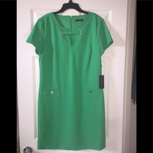 "Tommy Hilfiger ""popping"" green dress."